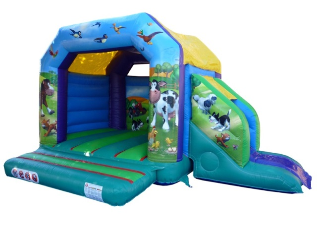 Farmyard Bounce & Slide Dimensions: D 3.8m L 5.6m H 3.10m Suitable for children of around 4-16 years